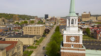 Aerial Elevating Up Over Chruch Clocktower and Charleston West Virginia