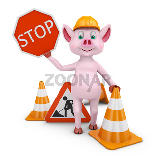 Piglet  with sign STOP