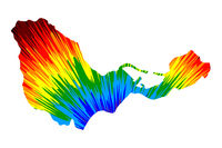 Ceuta - map is designed rainbow abstract colorful pattern, Ceuta -  Spanish autonomous city map made of color explosion,