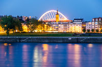 Riverside of the river Rhine in Cologne at night