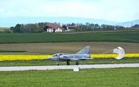 fighter jet Mirage III landing with a drag parachute, Swiss Air Force, military airfield Payerne