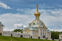 View of famous landmark of Peterhof Palace, close to city of St. Petersburg in Russia