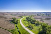 plowed fields and highway in Nebraska Sandhills