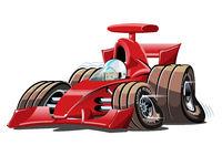 Vector cartoon formula 1 race car isolated on white