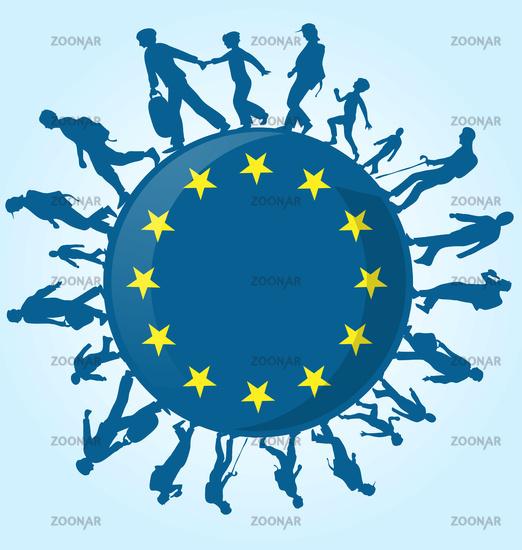 immigration people on european symbol