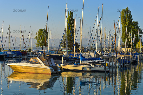 Yacht port at Lake Constance, Romanshorn at Lake Constance, Switzerland