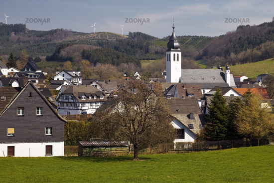 district Fretter with church St Matthias in spring, Finnentrop, Sauerland, Germany, Europe