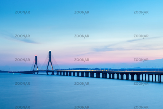poyang lake cable-stayed bridge in sunset