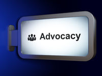 Law concept: Advocacy and Business People on billboard background