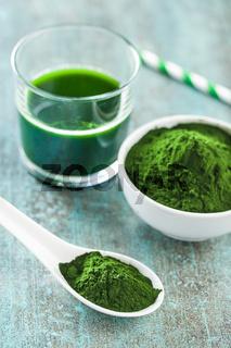 Chlorella or green barley. Detox superfood.