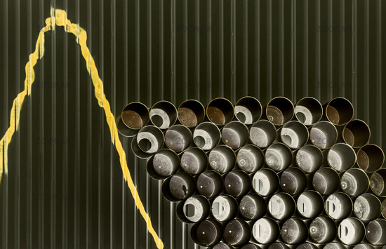 Tubes on the painted wall