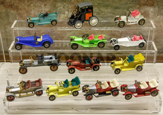 Istanbul, Turkey, 23 March 2019: Collections of various car miniature model at same scale. Some of them are scarce and the models become collectors. Rahmi M. Koc Industrial Museum