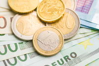 Euro money. Coins and paper banknotes.
