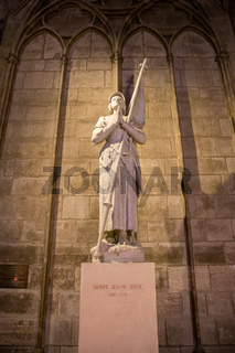 Jeanne D'Arc Statue inside Notre Dame Cathedral