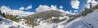 Scenic winter mountain panorama on the Klausberg