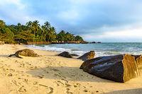Beach on Ilhabela island one of the main tourist spots of the coast Brazil