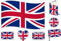 United Kingdom national flag vector illustration in different shapes.