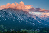 Colorful sunset over the town of Cortina d'Ampezzo