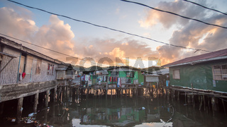 Slums of the city of Coron early in the morning. Philippines.