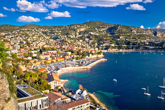 Villefranche sur Mer idyllic French riviera town aerial bay view