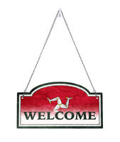Isle of Man welcomes you! Old metal sign isolated