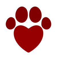 Pet icon footprint with heart. Flat and geometric style.