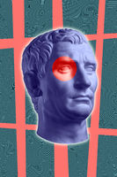 Modern conceptual art poster with ancient statue of bust of Octavian Augustus. Collage of contemporary art.