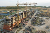 Volgograd, Russia - August 23, 2019: The general plan for the construction of a multi-story residential building of the Colosseum housing complex in Volgograd