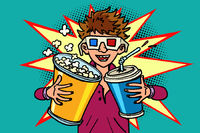 laughing boy in stereo glasses at the cinema with popcorn and cola