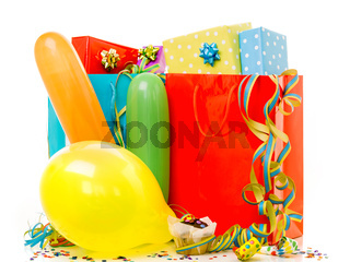 Colorful birthday gift boxes isolated on white background. Birthday