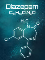 Chemical formula of Diazepam on a futuristic background