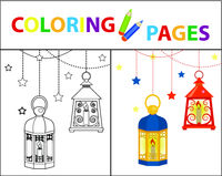 Coloring book page for kids. Ramadan kareem set. Sketch outline and color version. Childrens education. Vector illustration.