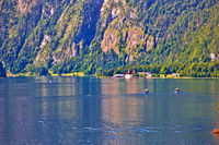 Konigssee Alpine lake and St. Bartholomew church view