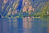 Konigssee Alpine lake and St. Bartholomew church view