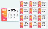 simple calendar 2019 yesr, Stock vector design eps10.