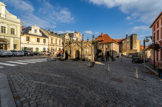 The streets of the old town and the stone fountain in the late Gothic style (1495).