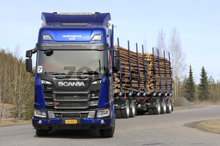 Blue Scania R730 XT Logging Truck Up Front
