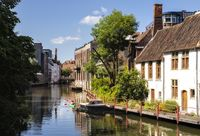 Ghent, Belgium - June 19, 2019: Beautiful houses along the river Leie in the center of town