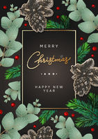 Merry Christmas and Happy New Year poster. Frame with branches eucalyptus, spruce branches and berries on dark background. Winter background, vector illustration.