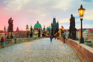 Charles bridge in Prague at sunrise