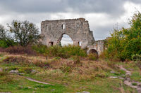 Ruins of medieval fortress in Crimea