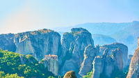 Panorama of Meteora rocks with The Monastery of Rousanou