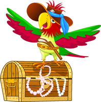 Parrot - pirate on a treasure chest