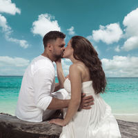 Attractive young couple on the tropical island