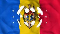 Moldova flag with a small holes
