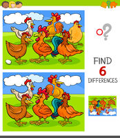 finding differences game with hens and roosters