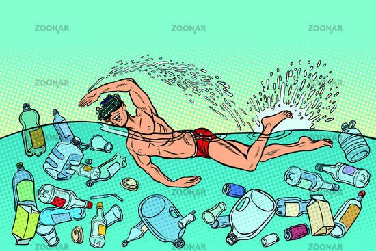 Ocean pollution by plastic trash. Ecology concept. virtual reali