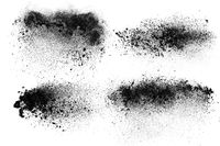 Abstract design of set dark powder particles explosion isolated over white background