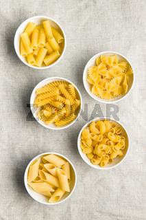 Various types of italian pasta.