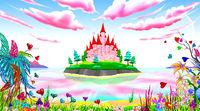 Pink princess castle fairytale landscape